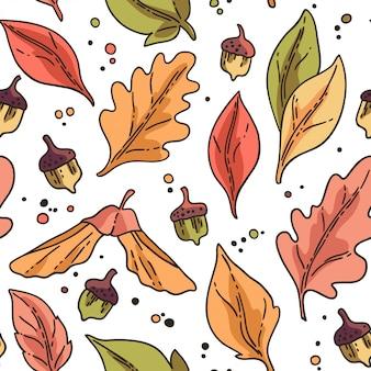 秋の紅葉とのシームレスなパターン