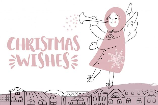 Рождественская открытка с надписью и ангелом