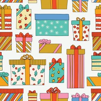 Старинные рождественские или день рождения бесшовные модели с подарочными коробками