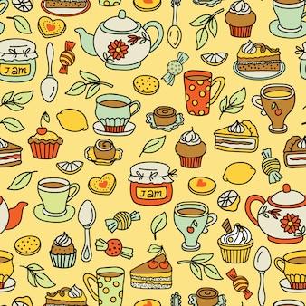 お茶とパン屋さんのシームレスパターン