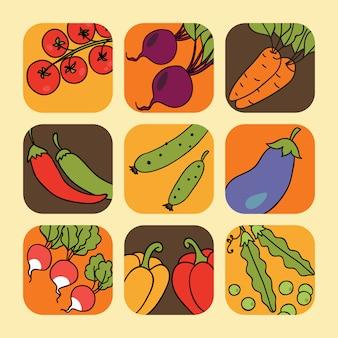 野菜のアイコンのセット