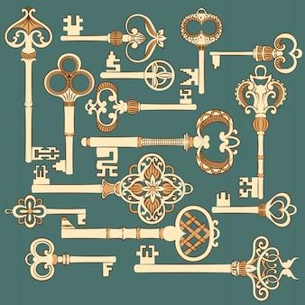 Коллекция старинных старинных ключей.