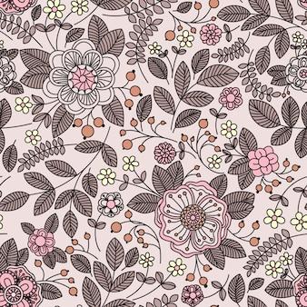 花とのシームレスなパターン