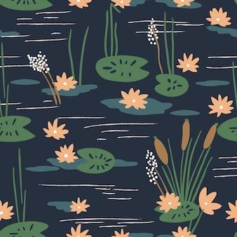 睡蓮の花のシームレスパターン
