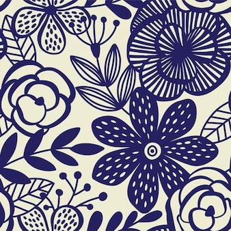 花の背景と抽象的な優雅さシームレスパターン