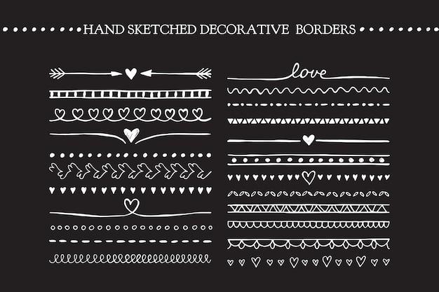 Векторные винтажные границы и элементы прокрутки. ручной обращается векторные элементы дизайна