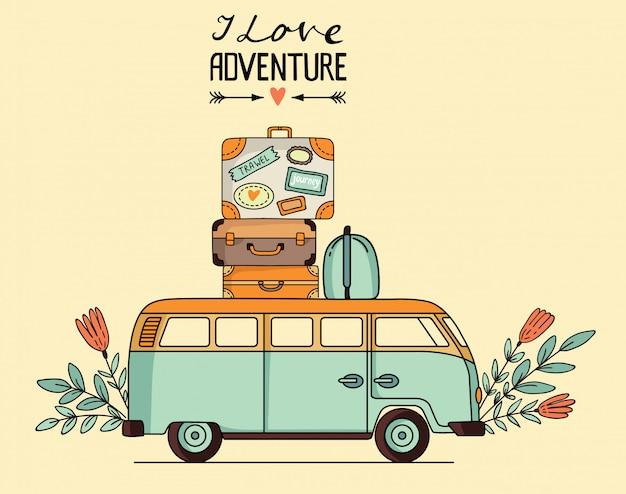 Иллюстрация старинный автобус с багажом