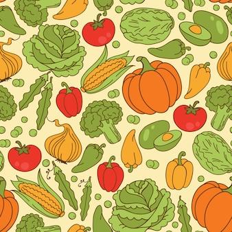 野菜とのシームレスなパターンベクトル。