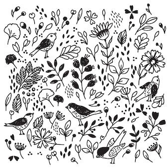 Бесшовный фон с цветами и птицами.