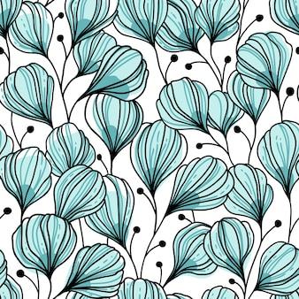 青い葉と抽象的なシームレスパターン