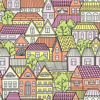Бесшовный фон с домами и деревьями. иллюстрация