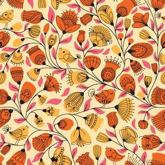 Бесшовный фон с цветами и птицами