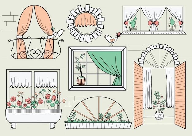 Иллюстрация с разными окнами