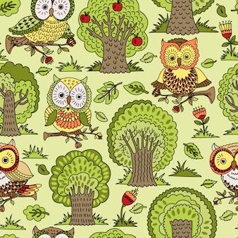 Бесшовный фон с деревьями и совы.