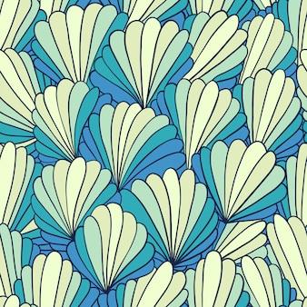 Безшовная предпосылка картины с абстрактными орнаментами раковины. рисованная иллюстрация