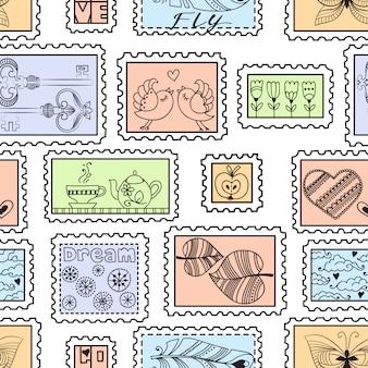 Бесшовный фон с почтовыми марками. бесшовные марки рисованной картины.