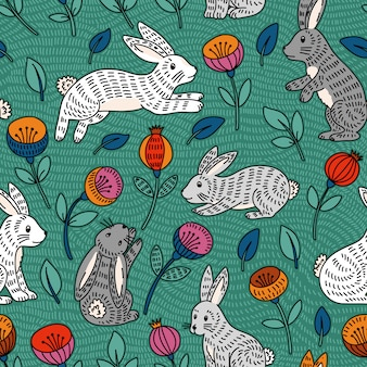 Бесшовный узор с милым красочным кроликом и цветами