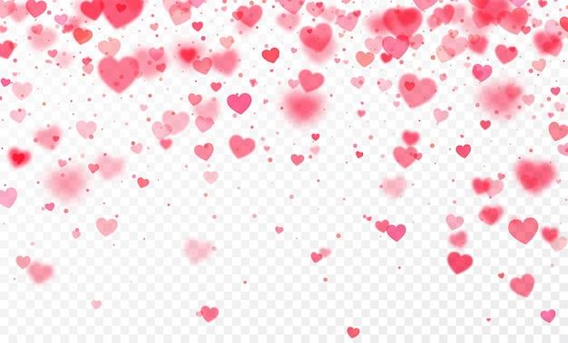 透明な背景に落ちる心の紙吹雪。バレンタインデーカード