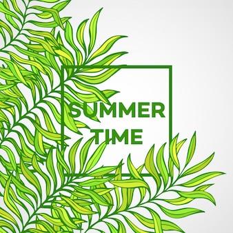 Летнее время иллюстрация тропических пальмовых листьев