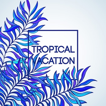 夏の時間。熱帯のヤシの葉のイラスト