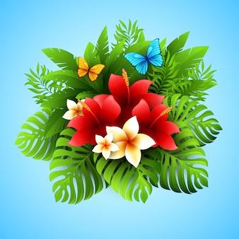 熱帯植物と花のベクトル図