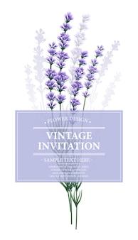 ラベンダーの花を持つヴィンテージのカード。