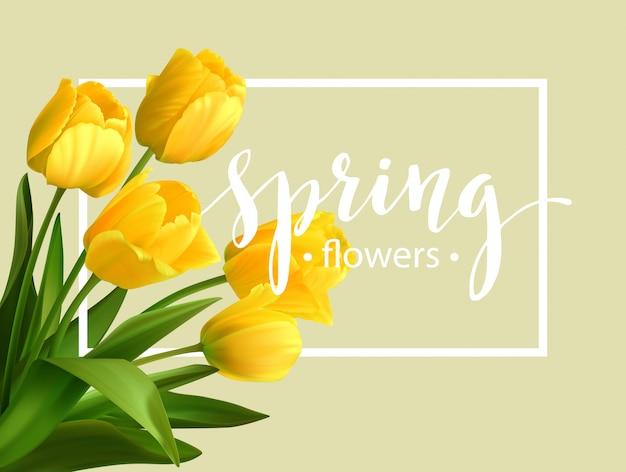 チューリップの花と春のテキスト。