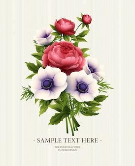 アネモネと牡丹の花のグリーティングカード。