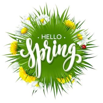Свежая весна с травой, одуванчиками и ромашками.