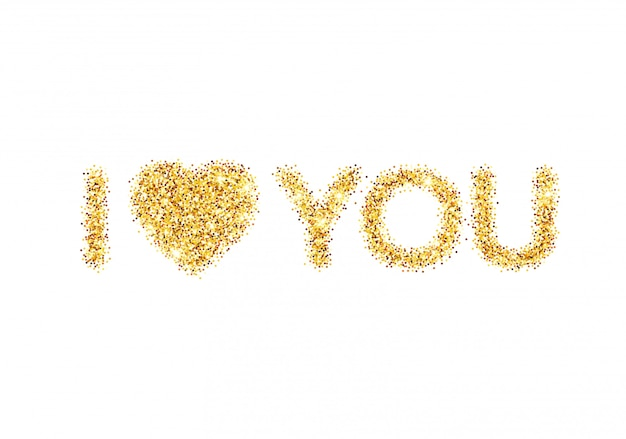 Я люблю вас сообщение и сердце дизайн золотой блеск.