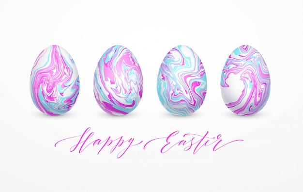 Набор пастельных цветов мраморных пасхальных яиц.