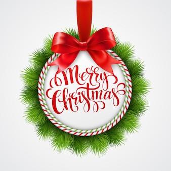 クリスマスボールと休日のラウンドフレーム。
