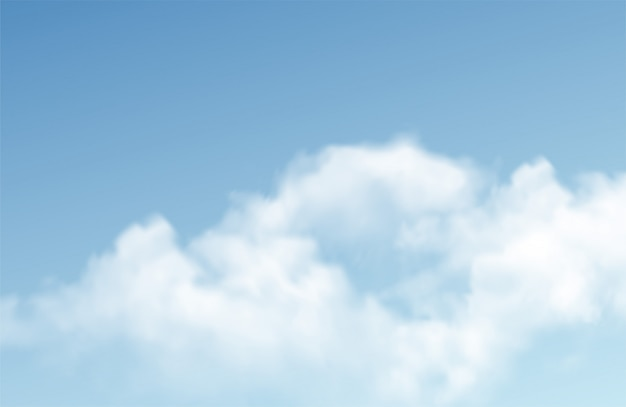 青の背景に透明な別の雲。本当の透明効果。