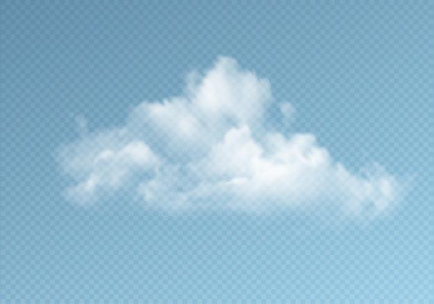 Прозрачные облака, изолированные на синем фоне. реальный эффект прозрачности.