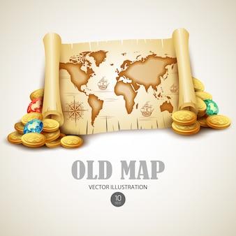 古い地図。図