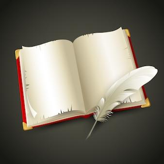 Старая книга и ручка. иллюстрация