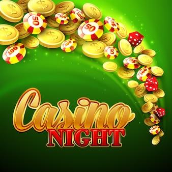 チップ、クラップス、お金でカジノの背景。図