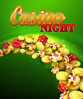 カジノの夜。ルーレット、コインのイラスト