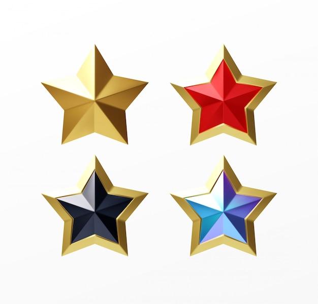 Набор золотых реалистичных звезд красный набор, изолированных на белом фоне.