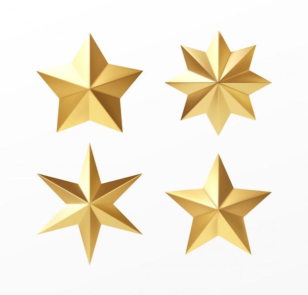 Набор золотых реалистичных звезд с различными лучами, изолированных на белом фоне.