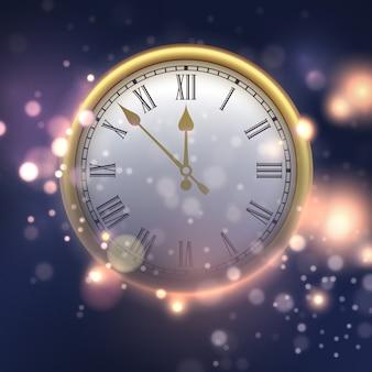 時計と幸せな新年の背景