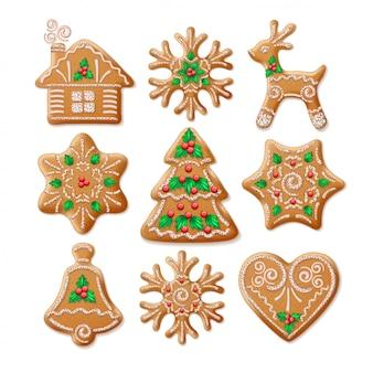 華やかな現実的なセットの伝統的なクリスマスジンジャーブレッド。