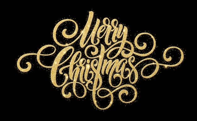 メリークリスマスゴールデン手書きスクリプトレタリング。