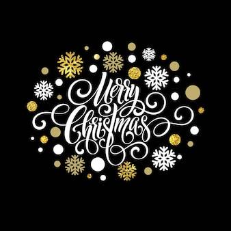 Счастливого рождества почерк сценарий надписи, рождественская открытка со снежинками.