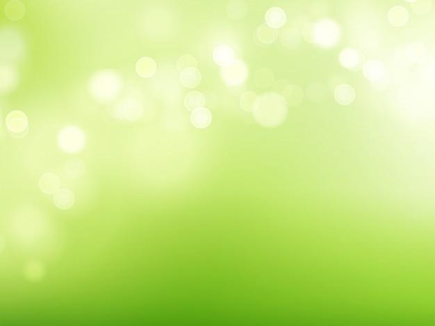 ぼやけた白い丸と天然春の緑がかったボケの背景。ベクトルイラスト