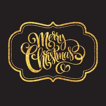 メリークリスマスゴールドきらびやかなレタリングデザイン、グリーティングカード