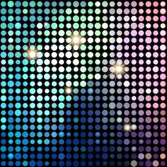 カラフルなドット抽象的なディスコの背景。ベクトルの背景