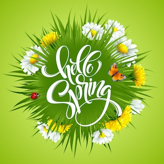 Надпись привет весна рука надписи с цветами