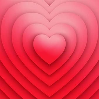 愛や健康のシンボル赤いハートのベクトルの抽象的な背景