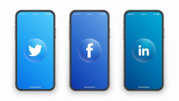 電話スクリーンのソーシャルメディアロゴ